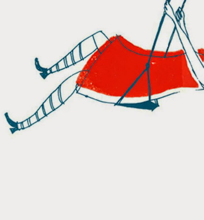 girl in a red dress on a swing illustration by Alanna Cavanagh