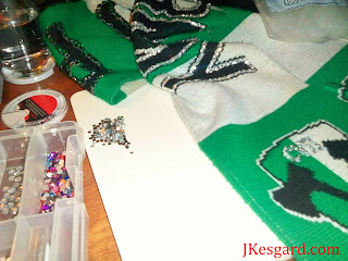 hot glued rhinestones defacing a USL Timbers Army scarf