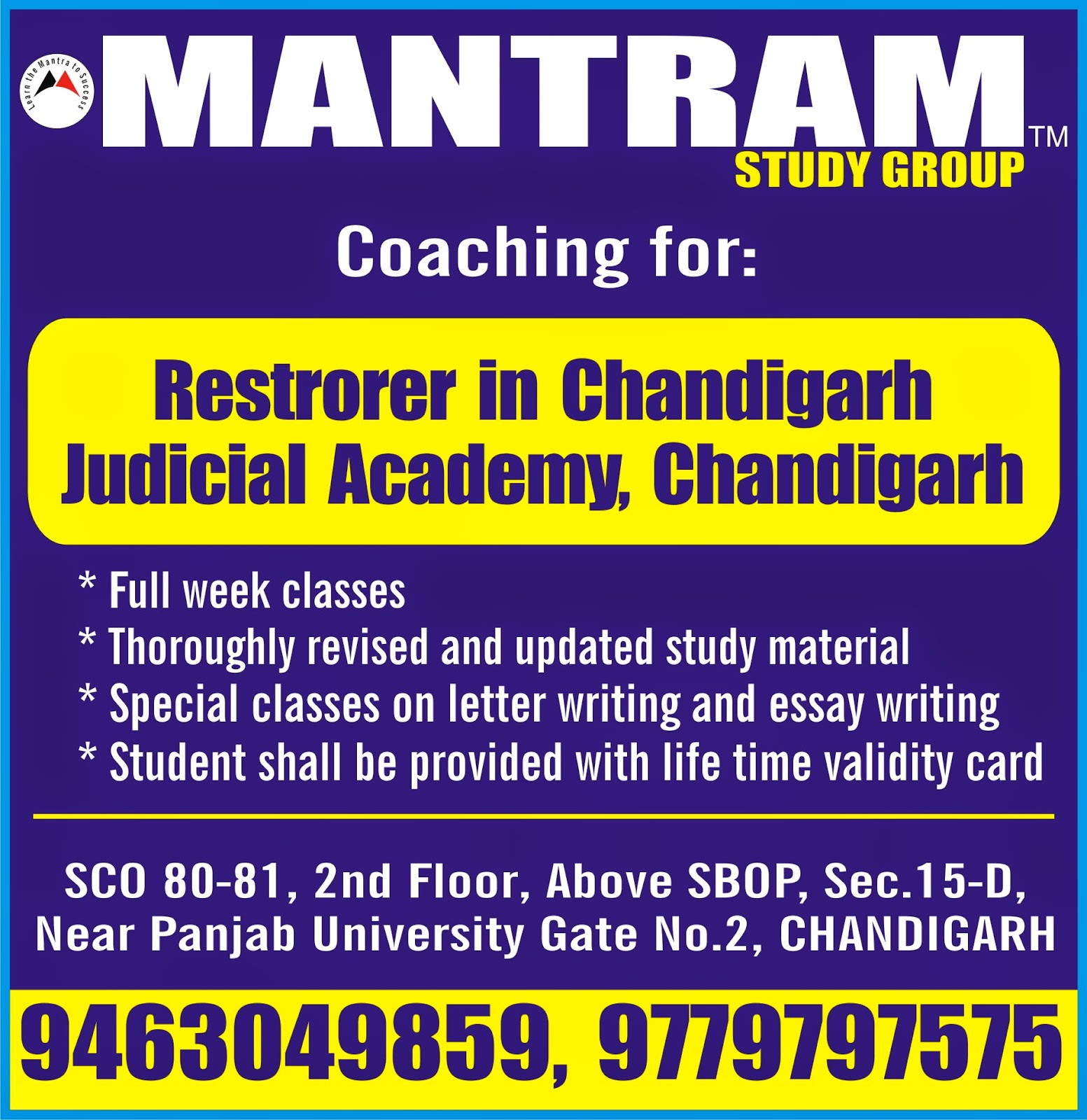 mantram study group latest govt jobs in  expertise coaching for restorer chandigarh judicial academy sector 43 chandigarh by mantram study group in chandigarh