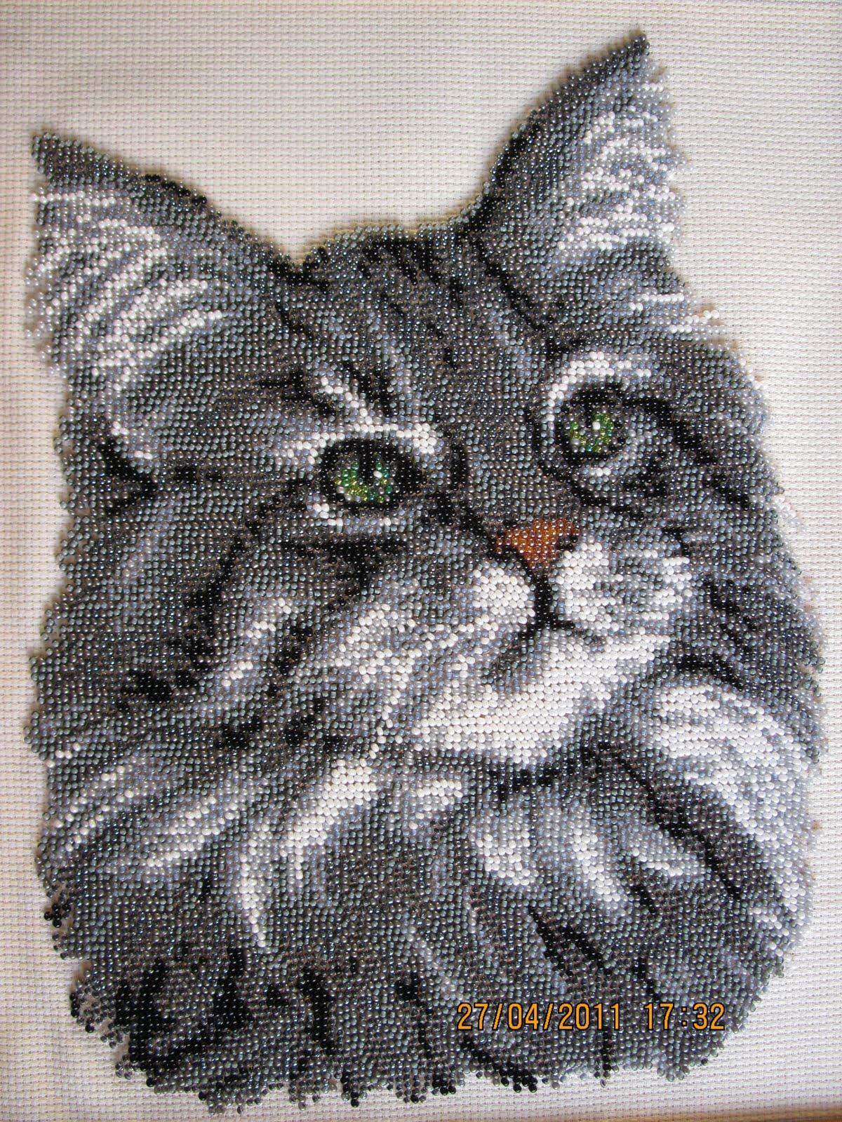 Вышивка из бисера котик 694