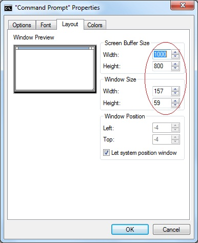 Screen Buffer Size and Window Size