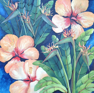Birds and Biscus flower painting by Pamela Hunt Lee