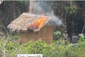 Puluhan Gubuk Perambah Liar Hutan Nusakambangan Dibakar