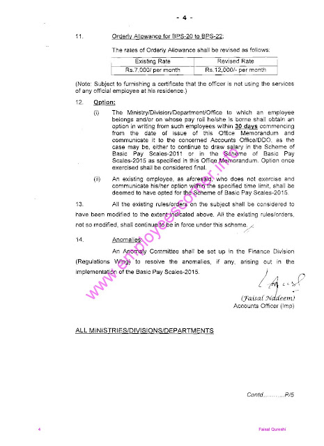 Notification of Revised Pay Scale 2015