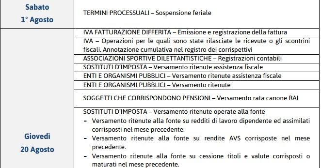 Fisco informa scadenzario fiscale del mese agosto 2015 for Scadenzario fiscale 2017