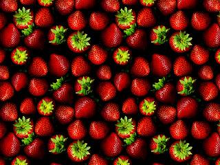 Shining Dark Red Strawberries HD Wallpaper