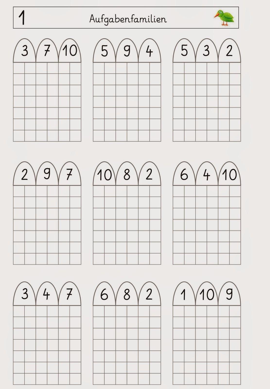 Lernstübchen: Aufgabenfamilien - Arbeitsblätter