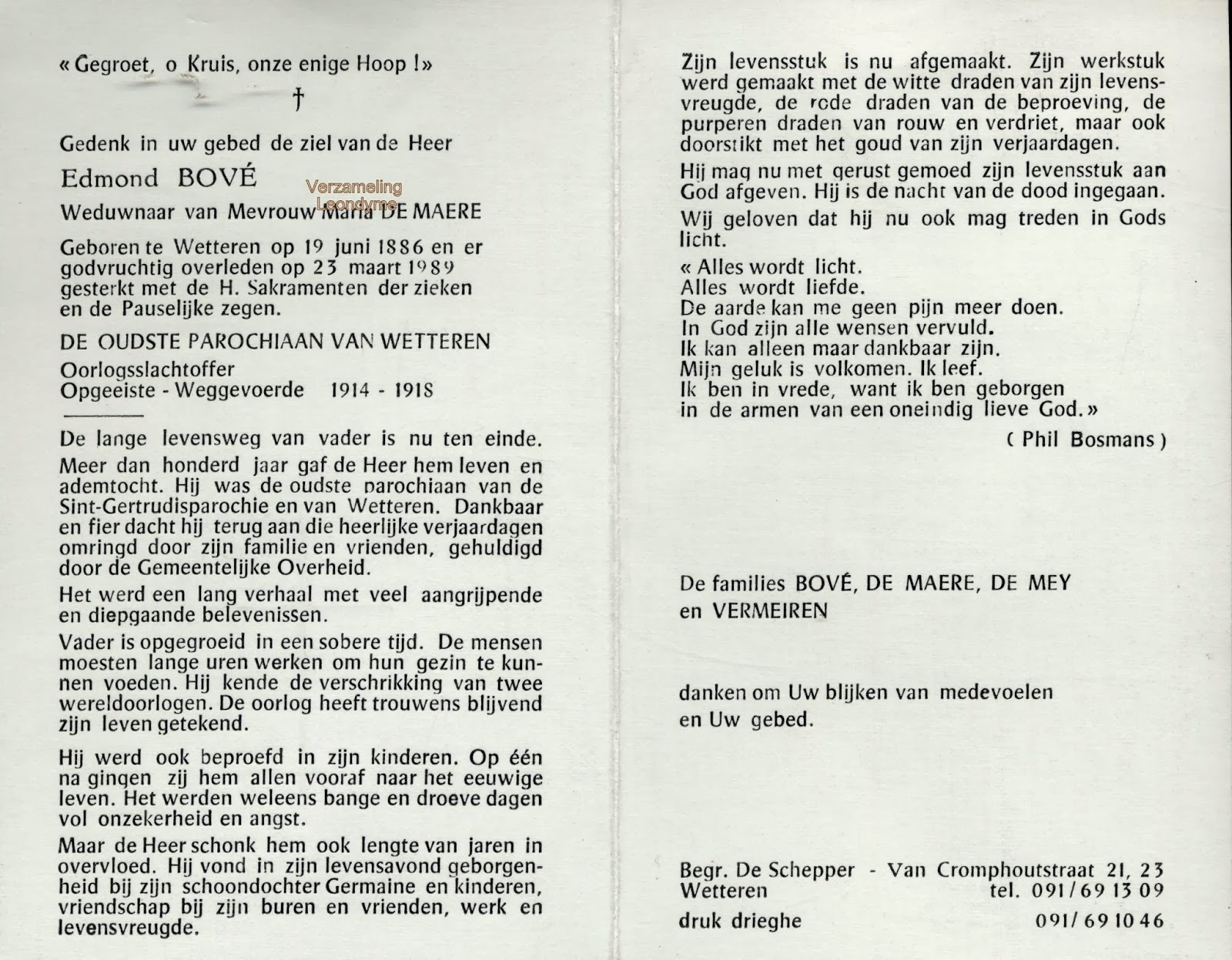 Bidprentje, Edmond Bové 1886-1989. Verzameling Leondyme