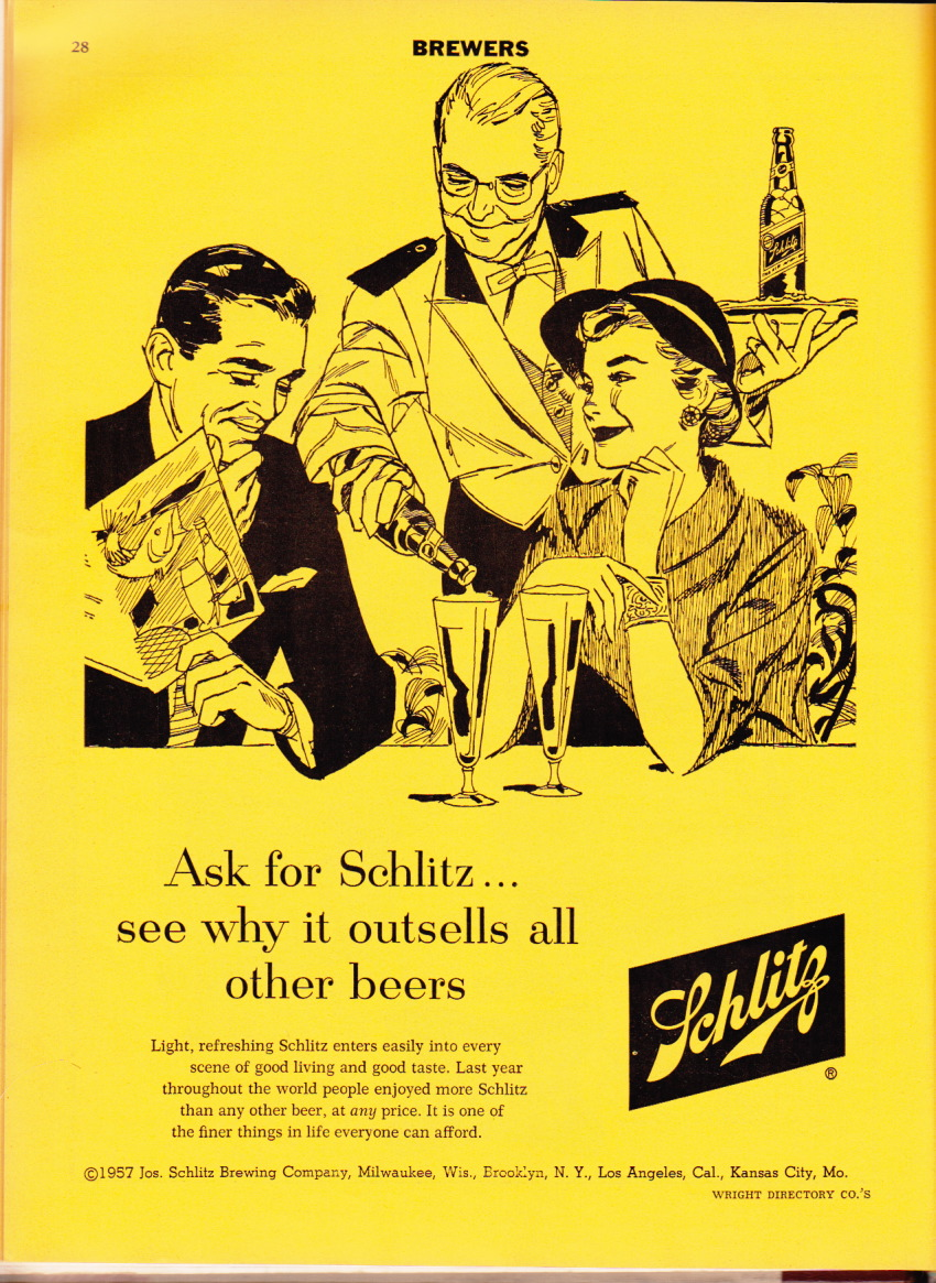 and here s a scan from the yellow pages of the 1957 city directory for schlitz what a nice little period piece is that 1957 or what