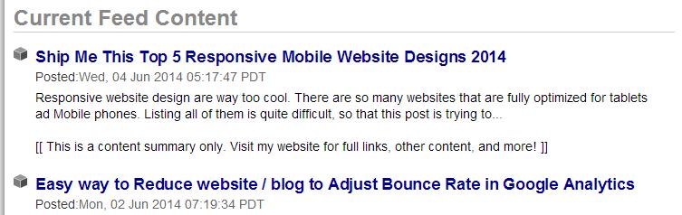 Blog feeds on feed burner