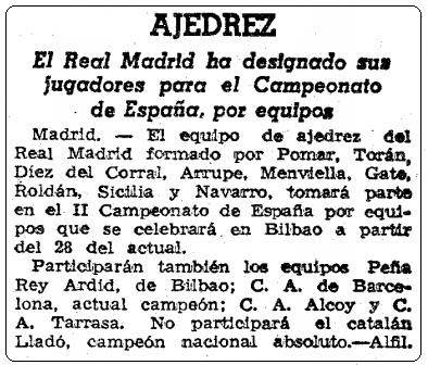 Recorte de La Vanguardia sobre el II Campeonato de España de Ajedrez por Equipos, 23 de agosto de 1957