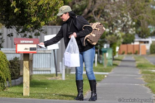 Janie Smith, Napier, out delivering fliers in support of Palestine in the Gaza conflict photograph