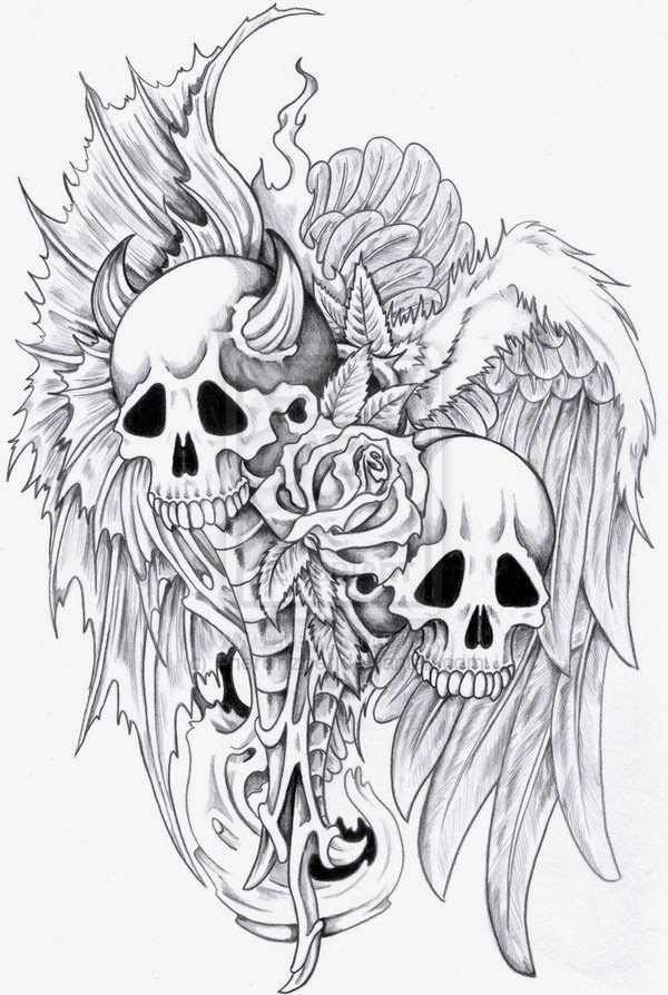 Evil skull vs angel skull rose and wings tattoo stencil