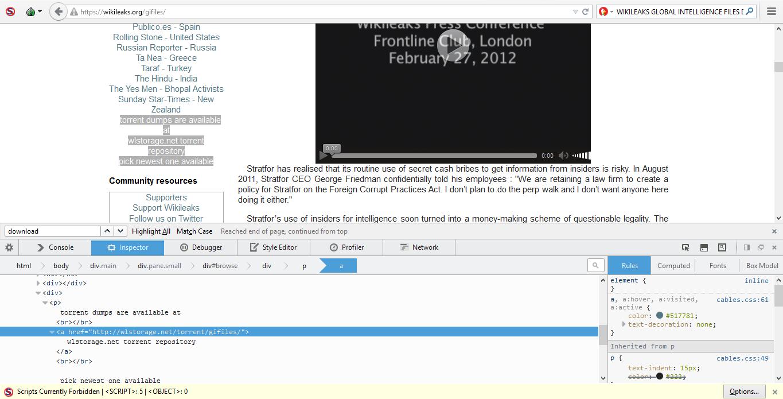 Josh Wieder, Wikileaks, Global Intelligence Files, wlstorage.net, torrent
