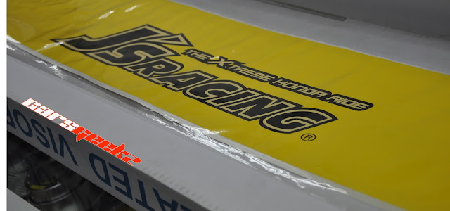 JS Racing windscreen decals stickers yellow