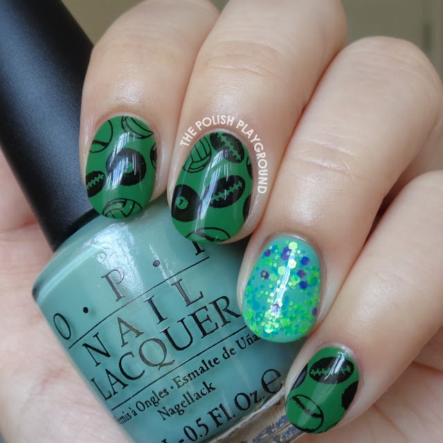 Sports Themed Stamping with Glitter Accent Nail Art
