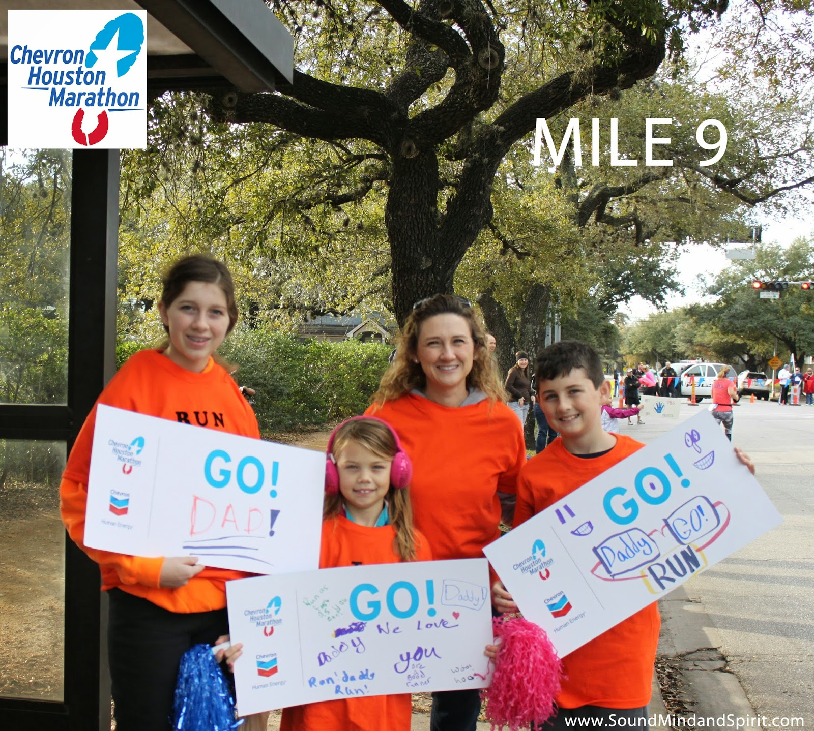 Cheering Section at Mile 9 -  A Chevron Houston Marathon Review