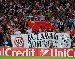 http://ukraineantifascistsolidarity.wordpress.com/2014/09/19/athletic-bilbao-fans-support-donbass-at-match-with-shakhstar-donetsk/