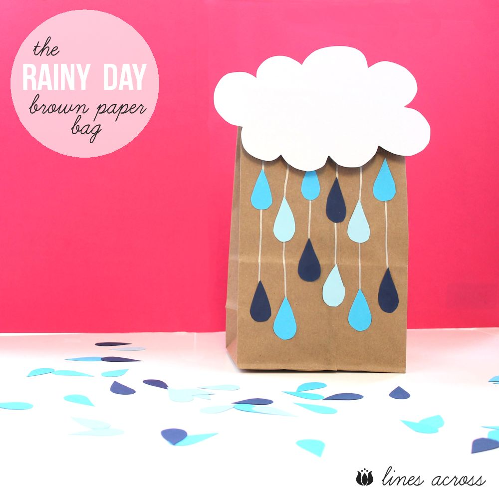 The rainy day brown paper bag lines across for Brown paper bag crafts for preschoolers