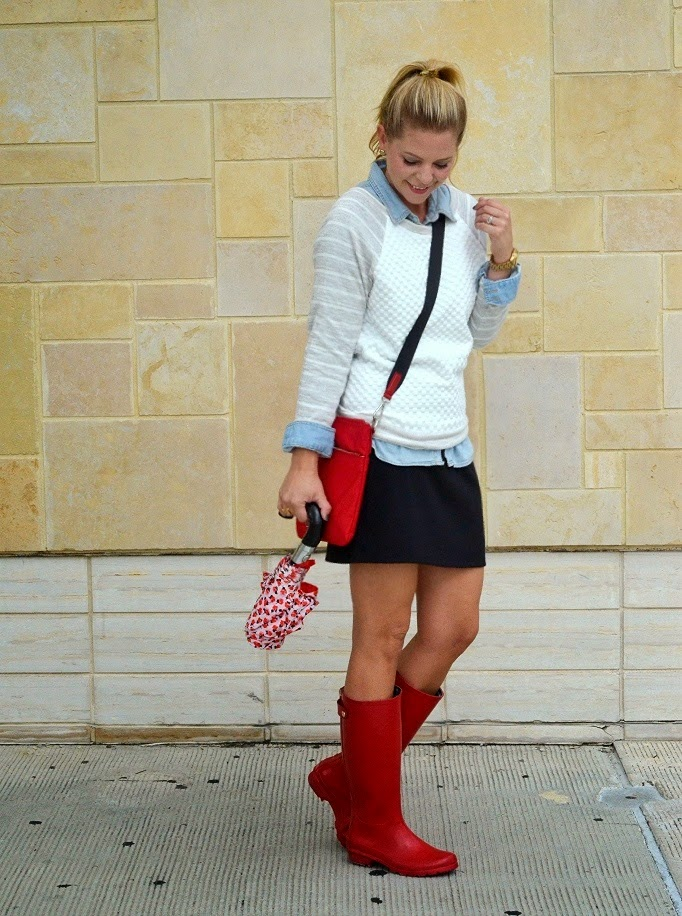 REd Rain Boots Stule OUtfit Idea