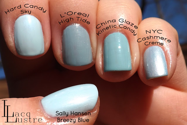 Hard Candy Sky, L'Oreal High Tide, China Glaze Kenetic Candy, NYC Cashmere Creme comparison swatch