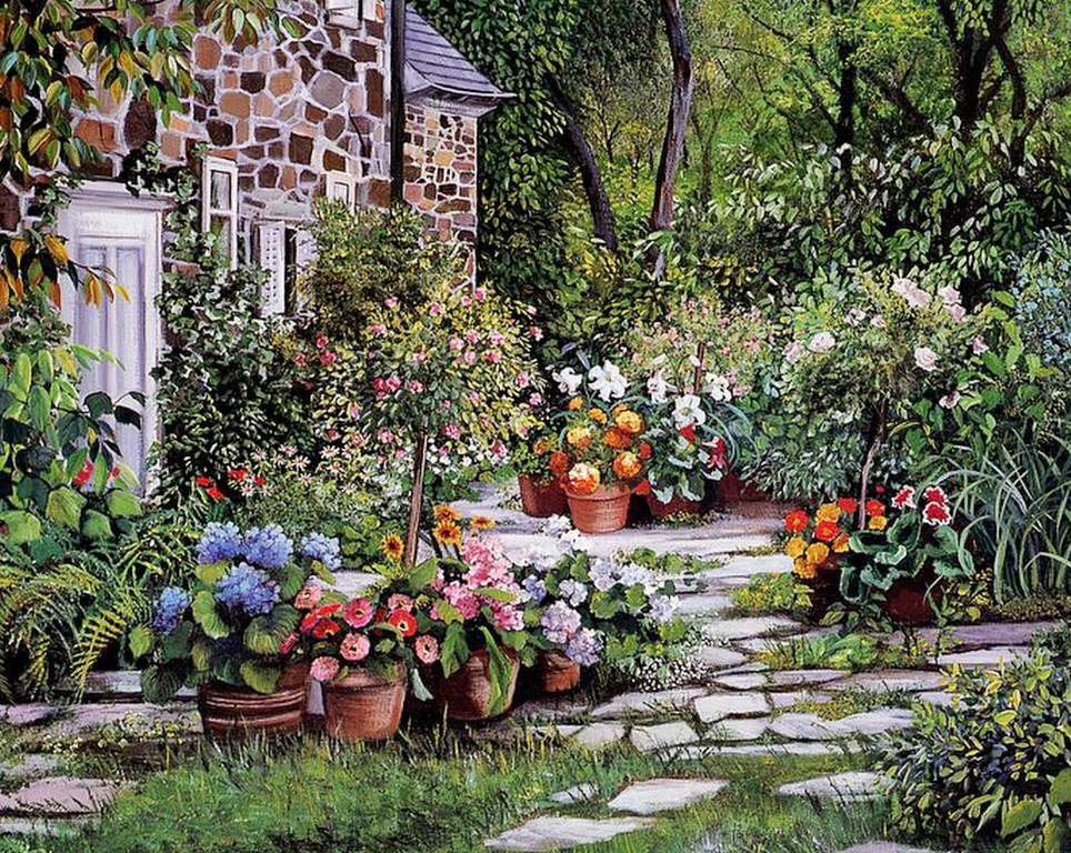 Pintura moderna y fotograf a art stica jardines cuadros - Oleos de jardines ...