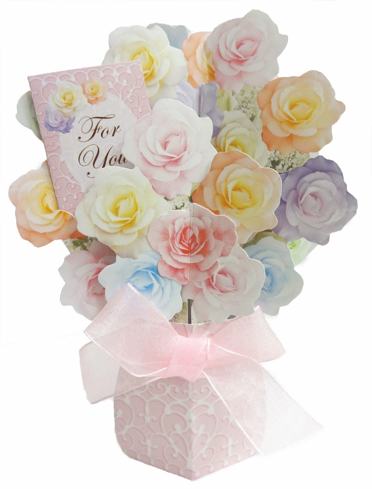 French maison de fleur house of flowers collection miss flowers in vase soft color rose pop up greeting card m4hsunfo