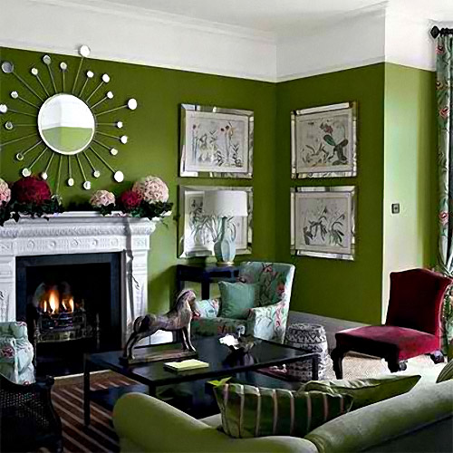 green wall living room ideas
