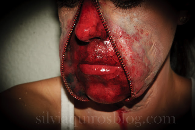 Maquillaje Halloween 5: Cremallera abierta en el rostro, Halloween Make-up 5: Open zipper on the face, efectos especiales, special effects, Silvia Quirós