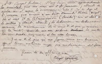 Carta manuscrita de Ángel Casanova a Ángel Ribera