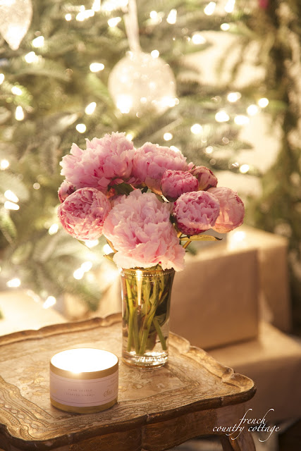 Peonies by Christmas tree