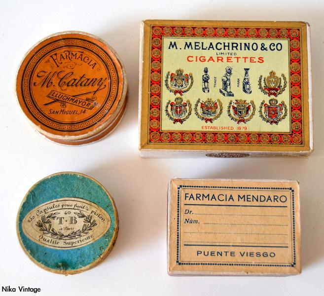 cajas carton, cajas farmacia, caja de cigarrillos antigua, Melachrino,