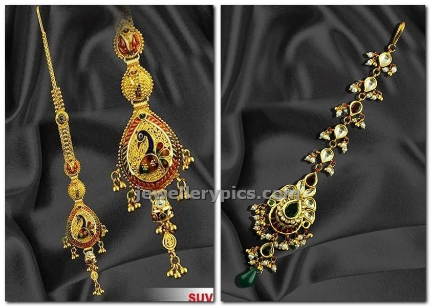 suvarnakala jewellers maang tikka design in gold peacock pattern