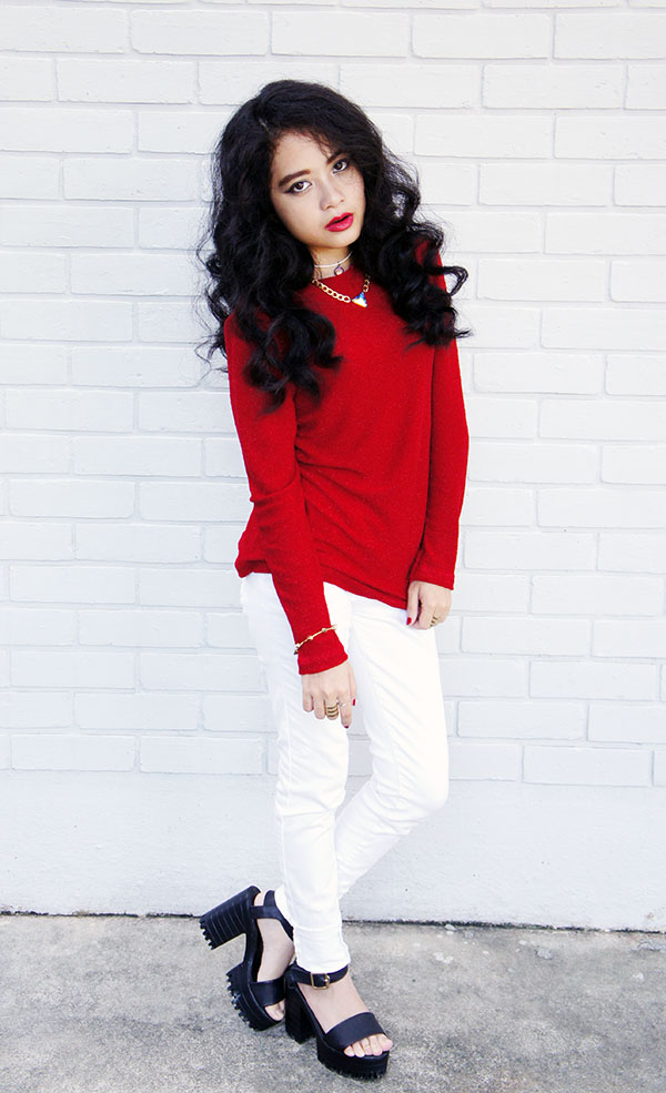 New Year 2016, Red Shimmer Knitted Top, White Skinny Jeans, Agape Boutique Chunky Platform Heels, Playful & Snazzy, Handmade Jewelry, Chunky Crystal Chain Necklace, Swarovski, Loose Curls, Red and White, Gold, NYE Outfit, Glam Look