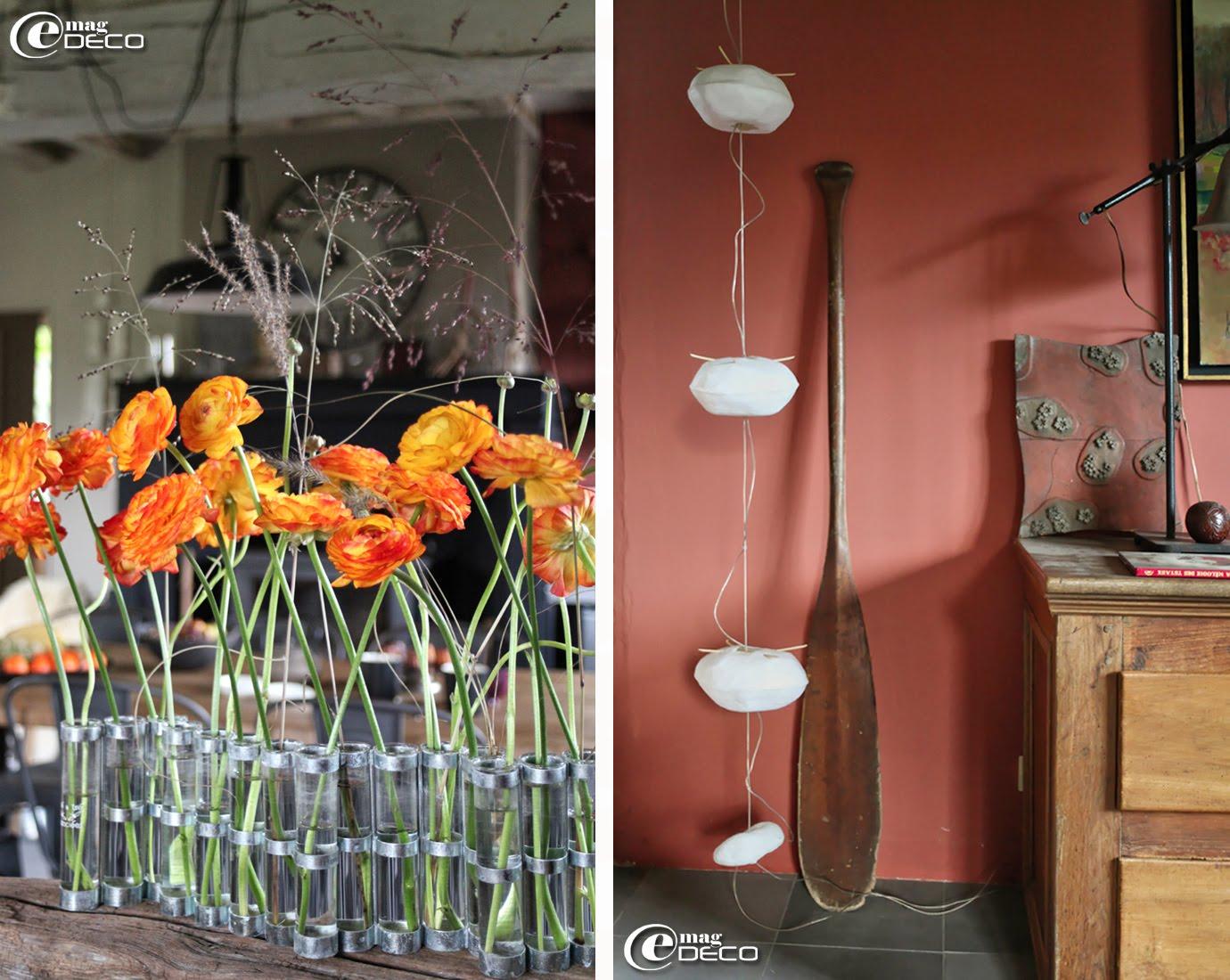 Vase d'avril créé par Tsé & Tsé et suspension Courant d'air composée de quatre cocons lumineux en papier japonais, création Céline Wright
