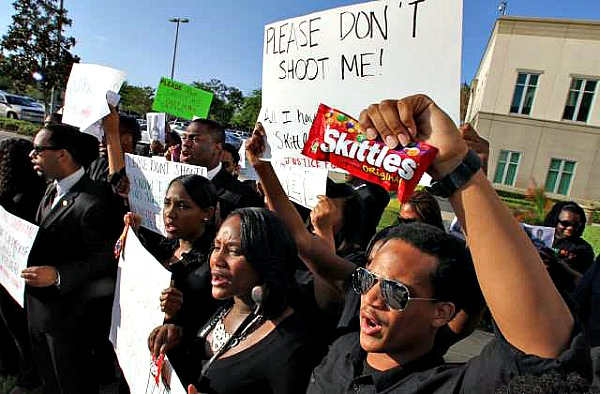 Florida law student holds a bag of Skittles candy in protests