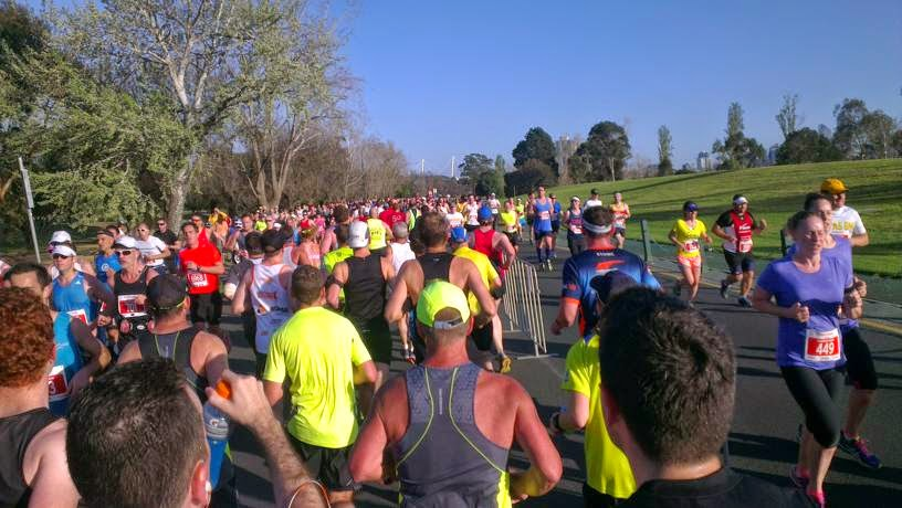 Runners travelling in three different directions in part of the Albert Park course