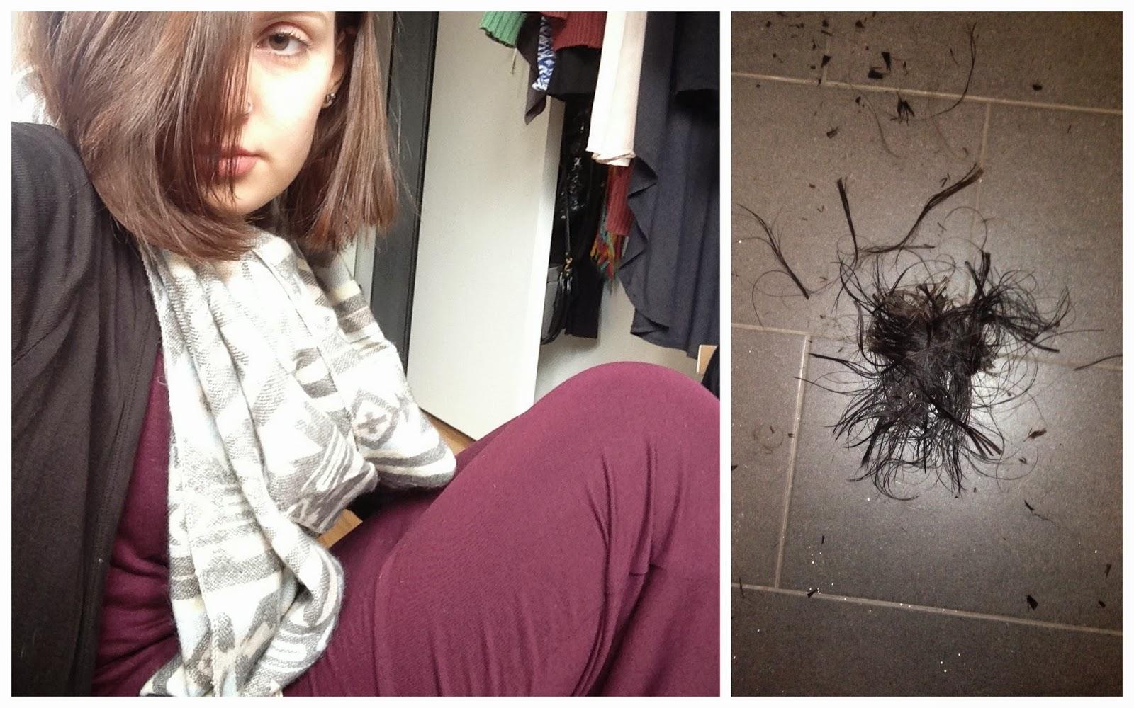 Bob selber schneiden Spitzen schneiden von kurz auf lang OOTD mit neuer Frisur Urban Outfitters Ethno Schal