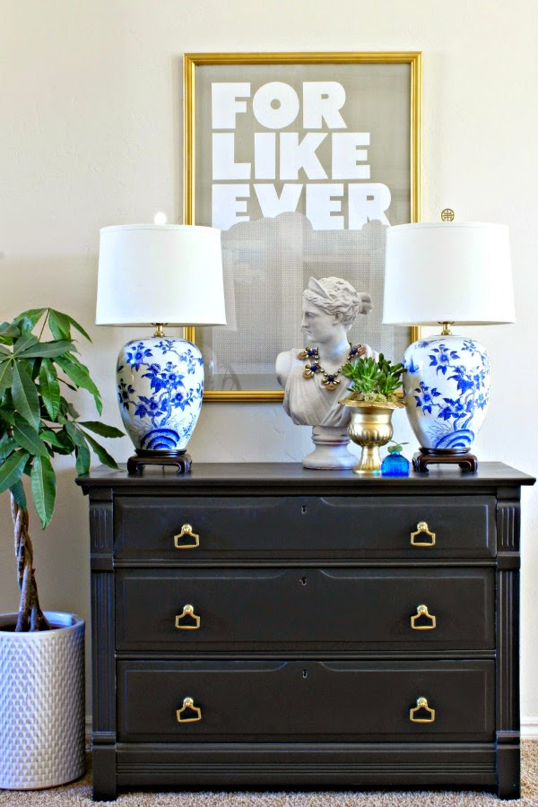 In Place Of The Dresser I Used My New To Me Sofa Table Im Liking Shallower But Longer Footprint Between Chairs And Baskets Underneath Are