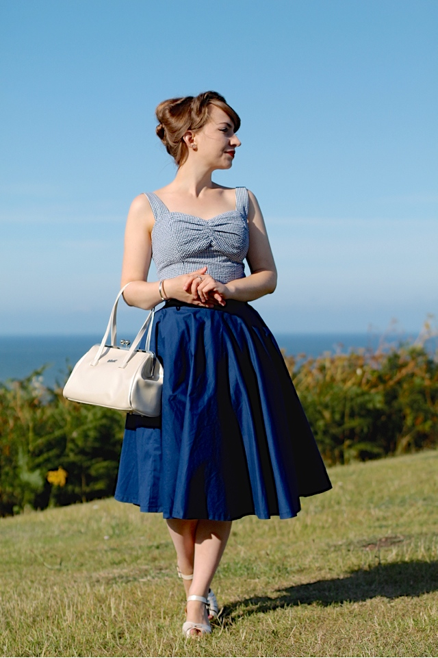 Collectif Sophia Gingham Top and Lindy Bop Peggy Midnight Blue Full Circle Skirt