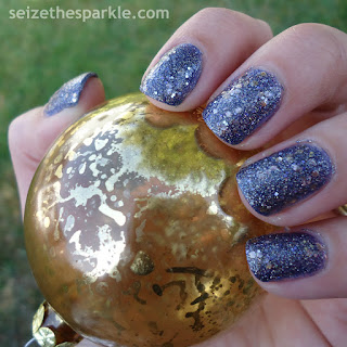 Blue & Gold Holiday Glitter Manicure