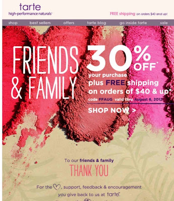 Tarte 30% Friends & Family Sale