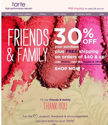 Tarte 30% Friends & Family Sale