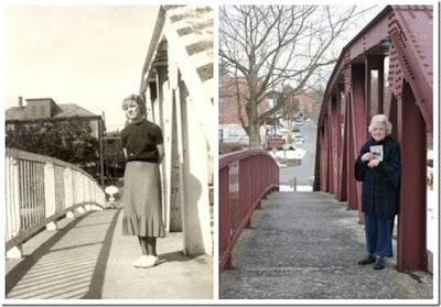 A jovem e a ponte, a senhora e a ponte