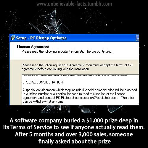 Software Company Buried $1,000 In Their Software's TOS