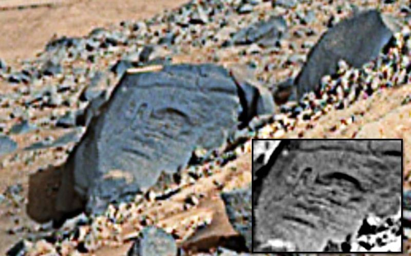 Rock tool and hieroglyphs carved into found at