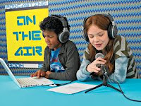 children using podcasts