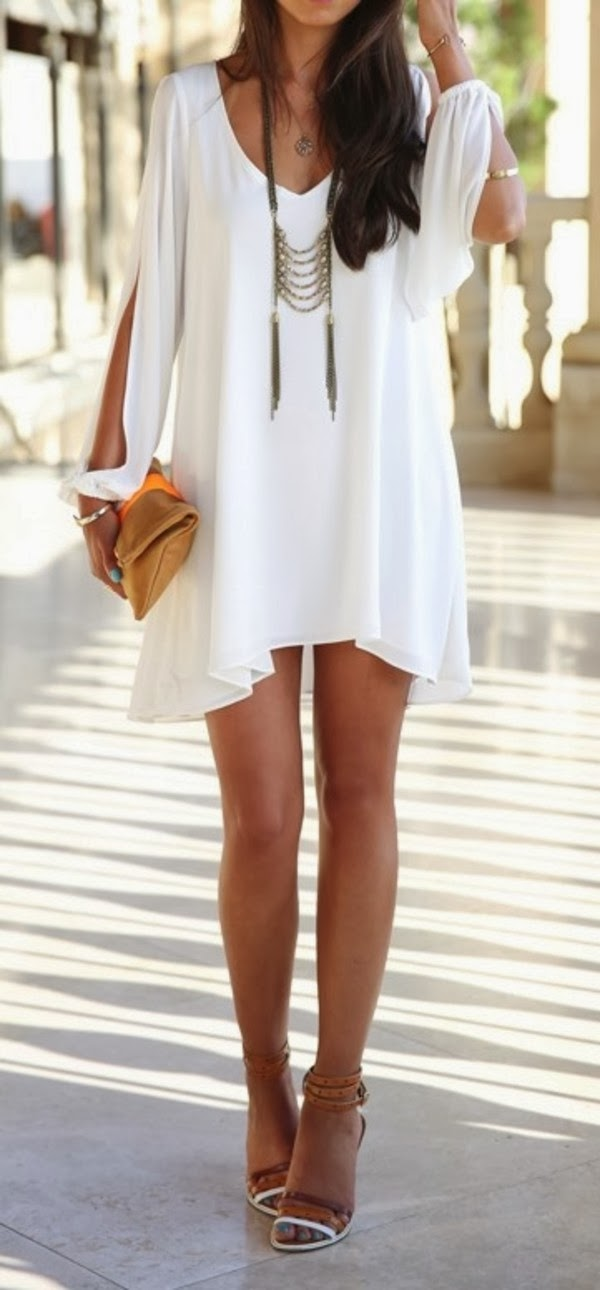 Extreme beautiful summer breezy white dress fashion