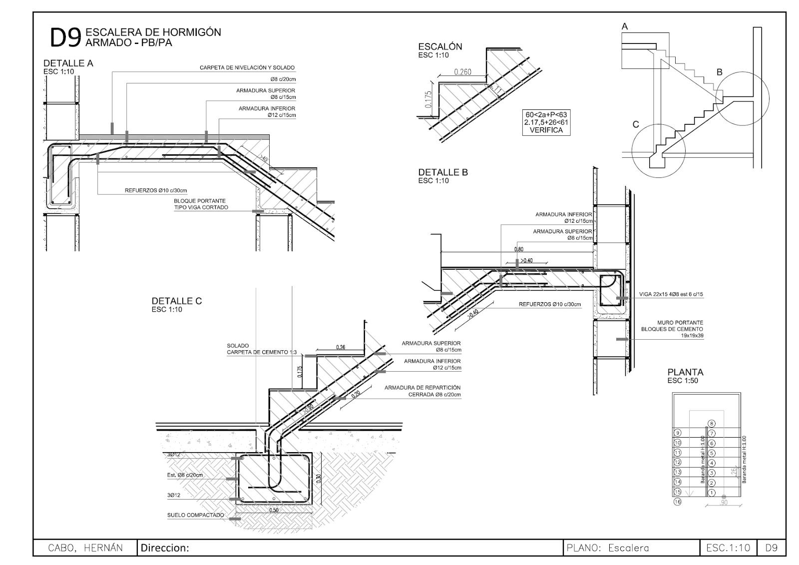 Detalles constructivos cad escalera de hormig n armado de for Planos de escaleras de concreto armado