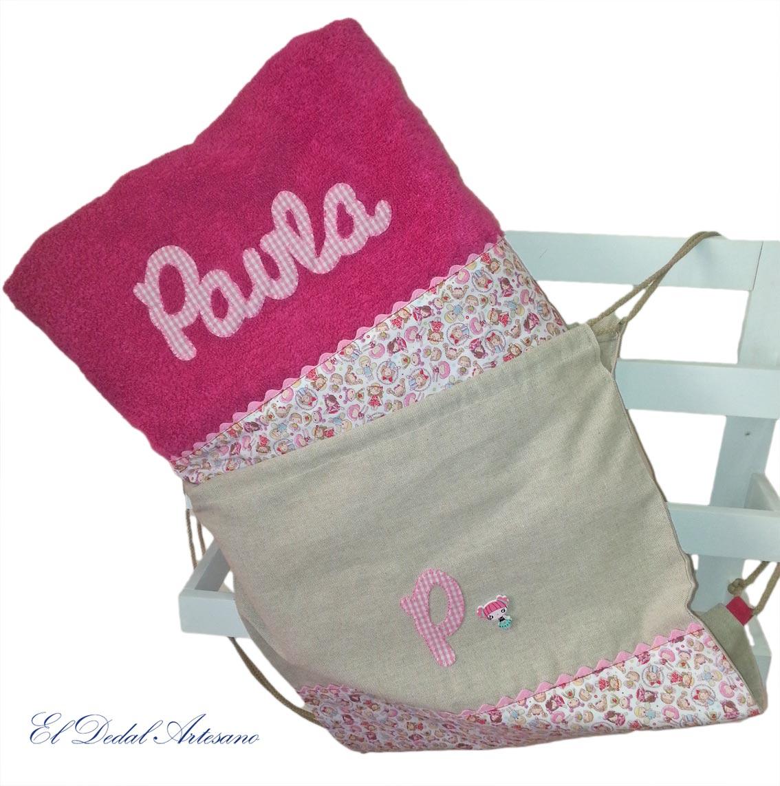 Toallas personalizadas para paula el dedal artesano for Toallas piscina